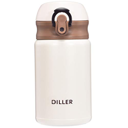 Diller Thermos Water Bottle - 10 Oz Mini Insulated Stainless Steel Bottle, Leakproof Cute Vacuum Flask, Perfect for Purse or Kids Lunch Bag, 12 Hours Hot & 24 Hours Cold (Beige, 10 oz)