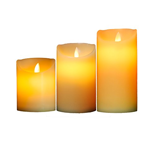 OxoxO 3'/7.5CM (Diameter) Heitht 4' 5' 6' Flameless Candles Wavy Side Sway Real Wax Pillar LED Candles Battery Operated