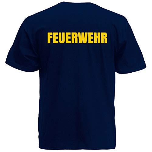 Shirt-Panda Herren Feuerwehr T-Shirt · Druck Brust & Rücken · Feuerwehrmann Tshirt Bedruckt · 112 · Shirt für Feuerwehrleute · 100% Baumwolle · Unisex · Dunkelblau (Druck Gelb) 3XL