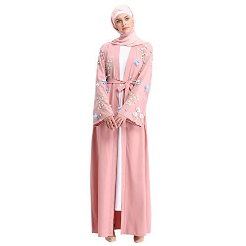 Women Openwork embroi Long Dress Robe Open Abaya Cardigan Muslim Dubai Robe Gown Pink