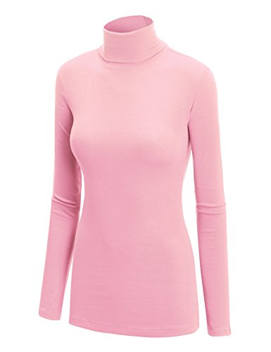 WT950 Womens Long Sleeve Rib Turtleneck Top Pullover Sweater XXXL Pink