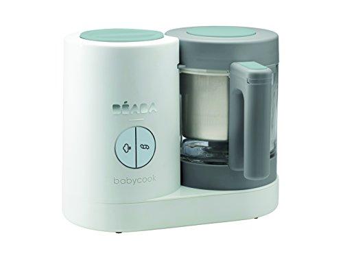 Béaba – Babycook Neo – Babynahrungszubereiter zum Mixen, Dampfgaren und Aufwärmen – Schnelles Dampfgaren in 15 Minuten – Glasbehälter und Edelstahl-Garkorb – für Babys und Kleinkinder – weiß