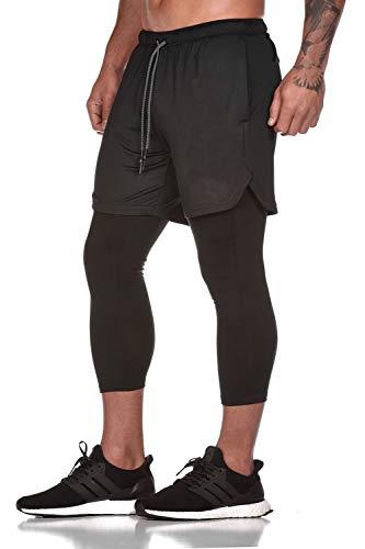 Yidarton Shorts Herren Sport Sommer 2 in 1 Kurze Hosen Schnelltrocknende Laufshorts Fitness Joggen und Training Sporthose mit Taschen