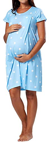 YUNAR Women Labor Delivery Hospital Gown Dress (Light Blue, S)