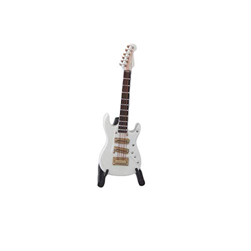 M4MUSIC Electric Guitar Music Instrument Miniature Replica with Stand and Case --- 4 Inches (White)