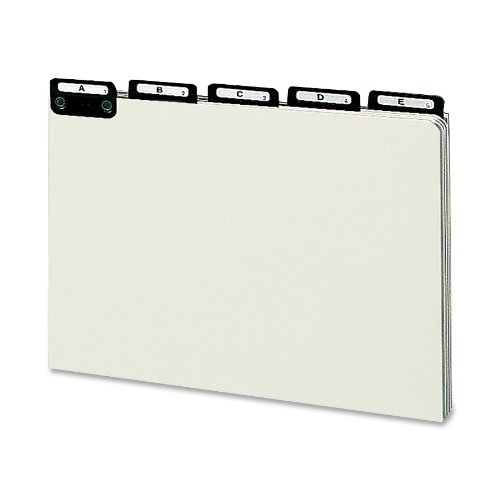 Smead 100% Recycled Pressboard File Guides, Flat Metal 1/5-Cut Tab with Insert (A-Z), Legal Size, Gray/Green, Set of 25 (52576)