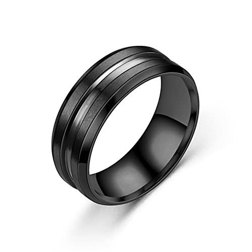 Agobel Anello di promessa unico, fedi nuziali incise in acciaio inox nero 8 mm colorato blu libero inciso, P 1/2,