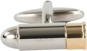 DLC Bullet Gold und Rhodium Teller Manschettenknöpfe