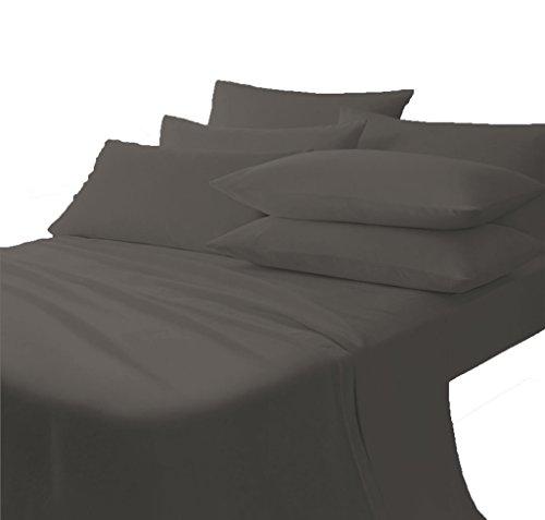 Scala Bedding 800 Thread Count 100% Egyptian Cotton Italian Finish Flat Sheet with Pillowcases Twin Top Sheet Elephant Gray