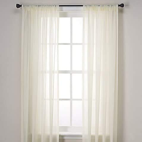 "Jasmine Linen 2 Piece Sheer Luxury Curtain Panel Set for Kitchen/Bedroom/Backdrop 84"" Inches Long (Ivory Off White)"