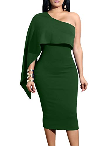 GOBLES Women's Summer Sexy One Shoulder Ruffle Bodycon Midi Cocktail Dress Green
