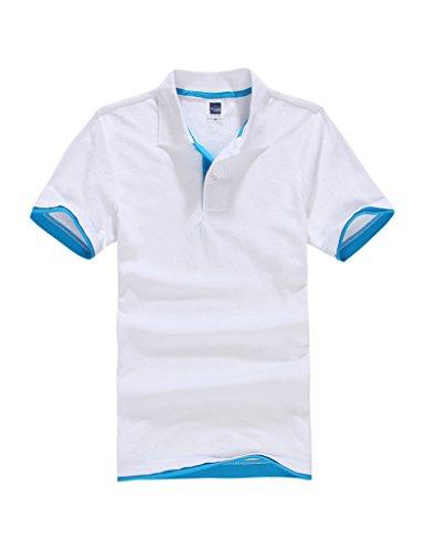Bestgift Homme Courts Manches Polo T-Shirt Blanc+Lac Bleu L