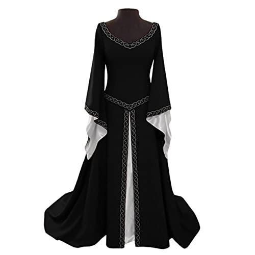 XIAOBUDIAN Vestido Medieval Renacimiento Mujer Vintage Victoriano gotico Manga Larga de Llamarada Disfraz Princesa