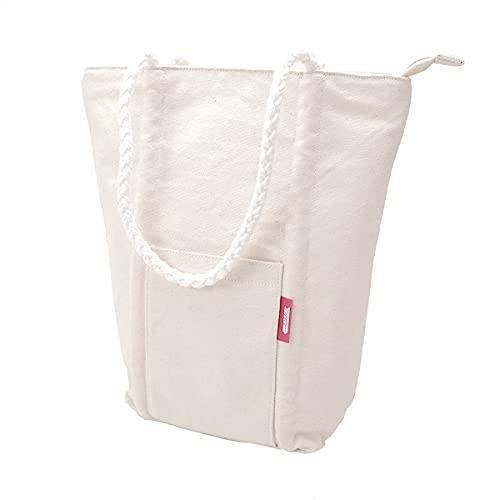 [ラーゴムトートバッグ] ワインバッグ クーラーバッグ ボトル2本 保冷 キャンプ ピクニック 持ち手ロープ キャンバス地 (ナチュラル)