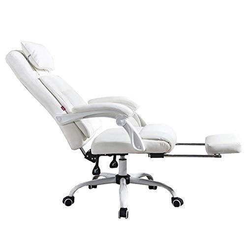 Silla de la computadora reposacabezas Comfort cojín de la silla del hogar jefe amplio escritorio de oficina ángulo Adjustmenthome Presión Nivel de Seguridad Aérea Tipo de Rod Correa ( Color : White )