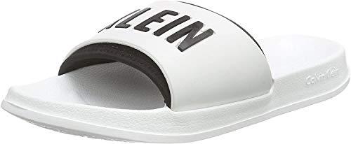 Calvin Klein underwear SLIDE, Unisex Sandalen, Weiß (WHITE/BLACK 100), 41/42 EU