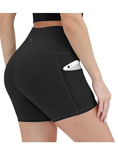 ALONG FIT Damen Leggings Kurze Sporthose mit Taschen Blickdichte Yogahose Hohe Taille Laufshorts Highwaist für Fitness Sport Schwarz M
