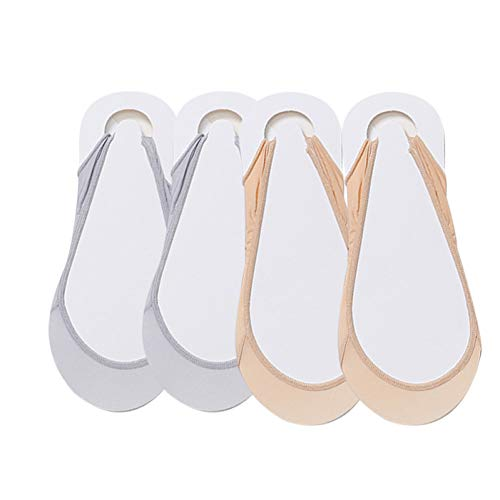 XBRTFH Socke 4 Paare Damen Dünne Sommersocken Seidenpantoffeln Unsichtbare Socke Rutschfester Pantoffel Vorderfuß Plus Fußpolster Druck Reduzieren Weiblich