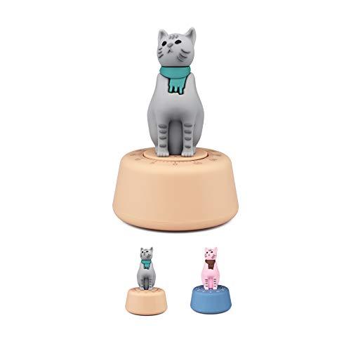 TRIWORIAE-Küchentimer der süße Katze , mechanisch, Eieruhr lustig, Küchenwecker Retro, Kunststoff Grau