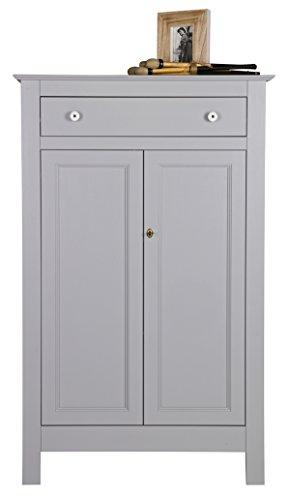 PEGANE Armoire Enfant avec 2 Portes, en pin Massif Finition béton Gris - Dim : H 150 x L 93 x P 40 cm