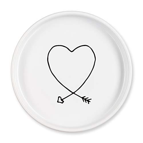 Lila Mae Verlobungsring-Schale aus Keramik mit Pfeil-Herz-Icon-Ringhalter, Ringtablett, Ringhalter für Ihre Mutter oder beste Freundin