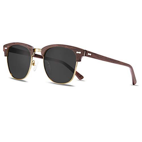 TSEBAN Medio Marco Clásico Retro Polarizadas Gafas de Sol Hombre UV400 Protección Aptos Para Conducción Golf Outdoor Sport Pesca (Montura de madera roja/lente gris)