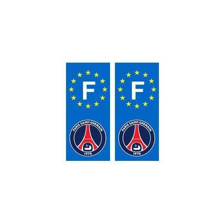 PSG Paris Foot F autocollant plaque - Angles : droits