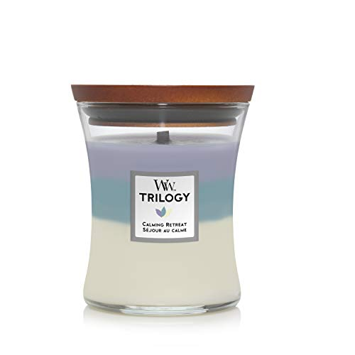 Woodwick Medium Hourglass Trilogy Scented Candle | Calming Retreat | with Crackling Wick | Burn Time: Up to 60 Hours, Calming Retreat