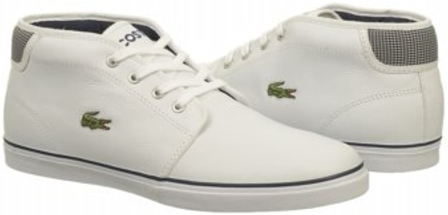 Lacoste Mens Ampthill MTS White Dark bluee Mid Top Fashion Sneakers
