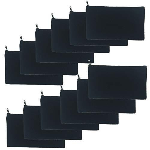 Paquete de 12 bolsas de lona en blanco con cremallera a granel, bolsa de maquillaje cosmética estuche para lápices para manualidades proyectos de vinilo DIY (12 negros)