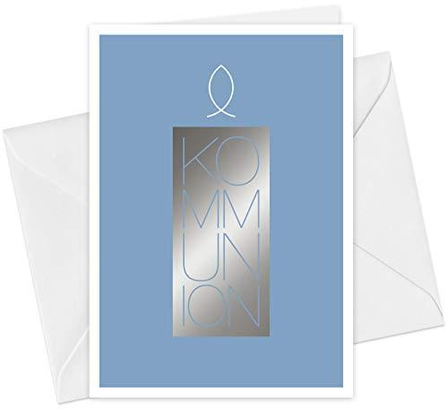 FRUITPRINTS CherryCards - 20er Set Einladungskarten & Umschläge - Kommunion Kerze & Fisch - Klappkarten Format A6 - mit Heißfolienprägung (Silber)