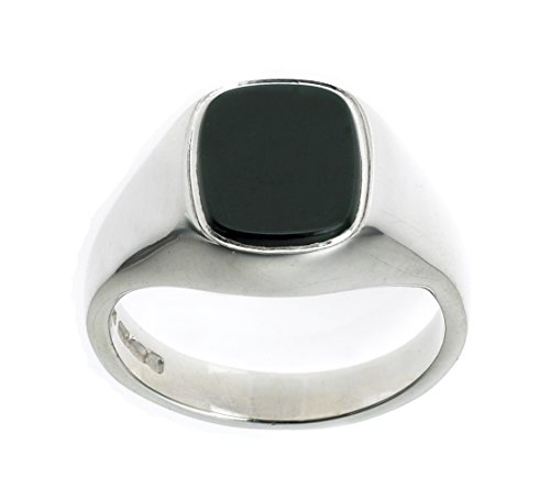 Sterling Silver Men's Onyx Rectangle Signet Ring (Size P - Z+4) Made to order in the Birmingham Jewellery Quarter (S)