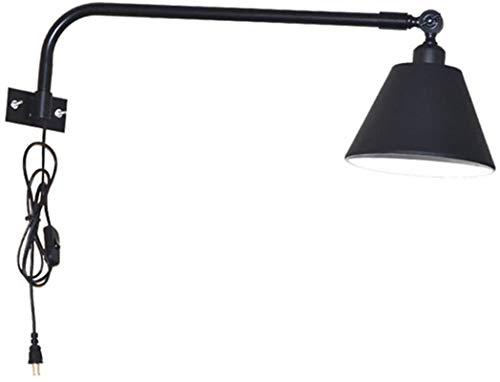 Despeje Luz de pared industrial de la vendimia con el interruptor, lámpara de pared de metal Negro con enchufe y cable de 1,8 m Pantalla de lámpara ajustable, E27 montado en la pared de la sala Bares