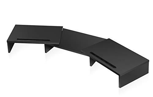 FITUEYES Giratorio Elevador Monitor con Ranura Móvil Soporte Madera para 2 Monitores 79-111,2x28x10,6 cm,Negro DT111101WB
