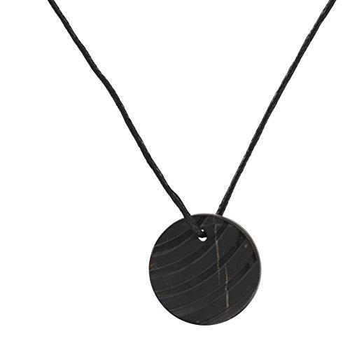 Collar de Shungite con Colgante Diseño Tallado Brisa Hecho de Piedra Shungit para Protección Electromagnética | Joyería de Shungita Moderna, Usada para Equilibrar Chakras y Energía | Brisa