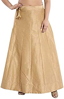 DREAM & DZIRE Golden Skirt of Raw Silk from Banaras for All Small Size and Plus Size