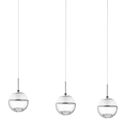 EGLO Lámpara colgante LED Montefio 1, 3 focos, moderna, lámpara colgante de metal, cristal y cristal, lámpara de techo en colores cromo, blanco, LED de mesa de comedor blanco cálido, L 87 cm