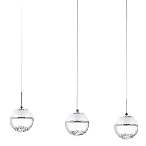 Lampada a sospensione EGLO LED Modello Montefio 1/3, cromo/trasparente/satinato 93.784 E