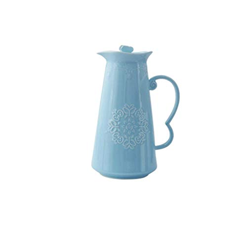 YAMMY Tetera de Porcelana de Gran Capacidad, fría y Caliente, Jarra, Resistente a Altas temperaturas, Creativo, con Flores, Tetera, Juego de té (Color: Azul) (Olla Caliente)