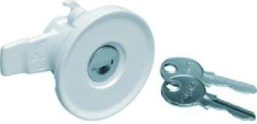Hager serie fwb SchliessSystem FZ597N Universal mit 2 Schlüsseln, Edelstahl, Weiß