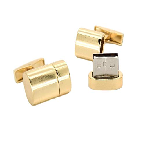 Cuff-Daddy USB Flash Thumb Drive Cufflinks in Gold 8GB Each (16GB Total) with Jewelry Presentation Box Digital Functional Computer Connector Cufflinks Business Attire Best Gifts for Men