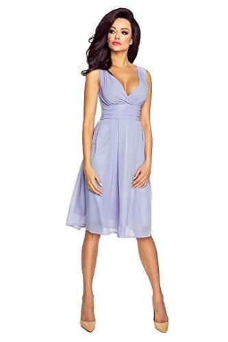 VictoriaV Damen Chiffonkleid Cocktailkleid Sommerkleid Abendkleid V-Ausschnitt Ärmellos Flieder Lavendel Größe 34