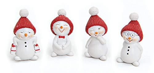 TEMPELWELT 4X Deko Figur Schneemann Im Set Je 5 cm Klein, Polystein Weiß Rot, Dekofigur Kranzdeko Winterdeko Weihnachten Schneemänner Winterfiguren