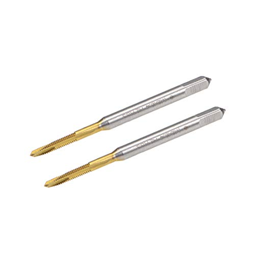 uxcell Spiral Point Plug Threading Tap M2 x 0.4 Thread, Ground Threads H2 3 Flutes, High Speed Steel HSS 6542, Titanium Coated, Round Shank with Square End, 2pcs