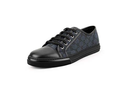 Gucci Herren Original GG Canvas mit Lederkappe Zehenbereich Sneakers, Grau/Schwarz, Schwarz (grau / schwarz), 45.5 EU