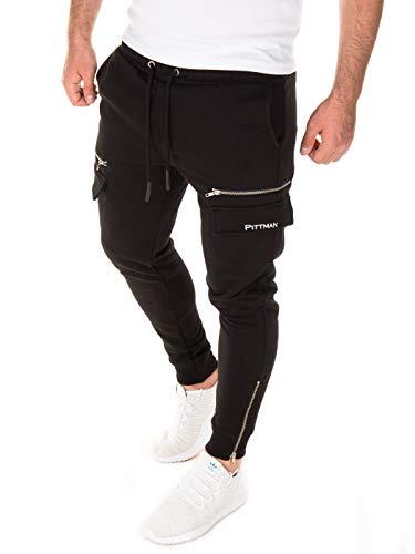 PITTMAN Tuta Uomo Traccia Cargo Pantaloni Sportivi Bruno Slim Fit Leggings Palestra Elastico, Nero (Black 194007), L