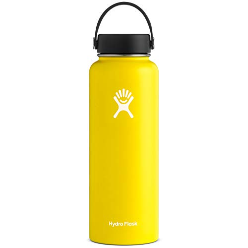 Hydro Flask Water Bottle - Stainless Steel & Vacuum Insulated - Wide Mouth with Leak Proof Flex Cap - 40 oz, Lemon