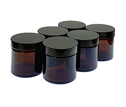 Avalon Cosmetic Packaging - Lot de 6 bocaux vides rechargeables en verre ambré avec couvercles hermétiques à l'urée noire pour mélanges d'aromathérapie, crèmes, fabrication de bougies (60 ml).