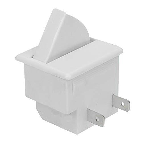 Interruptor de luz de puerta de refrigerador de 2 pines, control de palanca basculante útil HM-050K.4 interruptor de luz de puerta de refrigerador de 2 pines (2 pines, blanco)