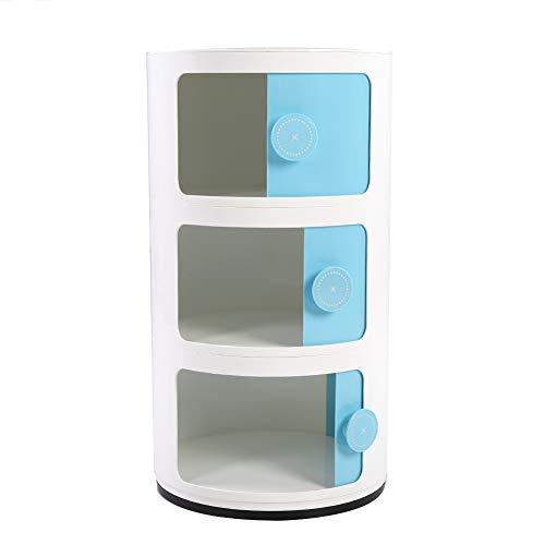 Ronde vorm schuifdeur, 3-laagse opbergschuiflade opbergdoos ronde vorm schuifdeur Home Supply blauw